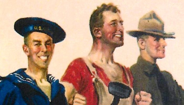 World War I Poster Showing three workers.