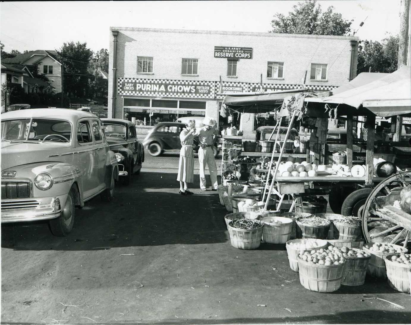 1950's car, feed store, fruits and vegetables