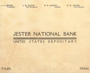 Ad from Tyler High 1909 yearbook for Jester National Bank.
