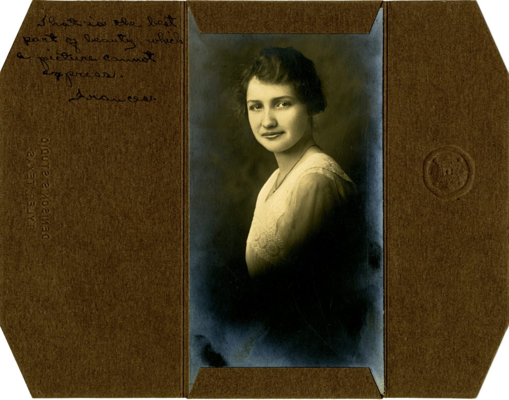 """Denison's Studio, Tyler Texas - Frances Prestwood - circa 1915 - """"That is the best part of beauty, which a picture cannot express. /s/ Frances."""" - [Object Id: BSF059]"""
