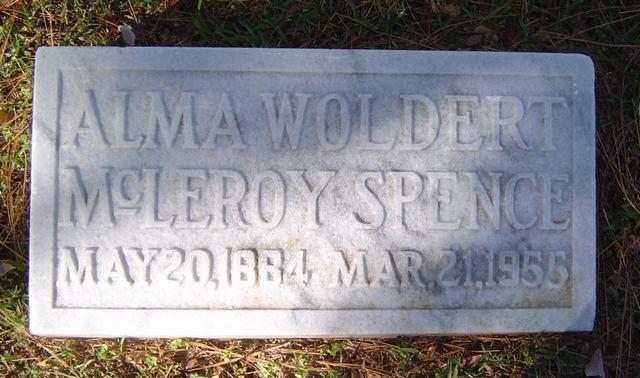 Alma Spence Tombstone in Oakwood Cemetery, Tyler, Smith County, Texas.