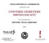 Universe/University Cemetery designated as a Historic Texas Cemetery